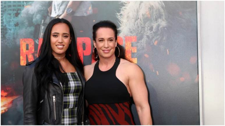Simone Johnson and her mother at the Rampage premiere.