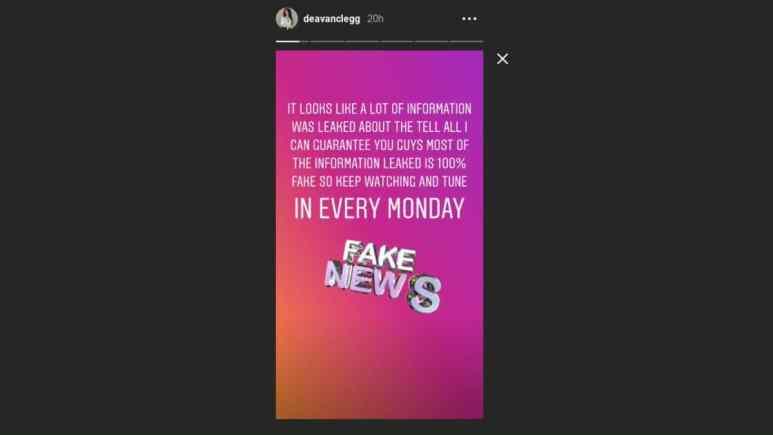 Deavan Clegg warns of fake spoilers in her Instagram story