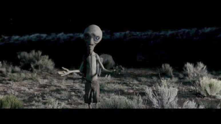 A scene from the movie Paul about an alien named Paul