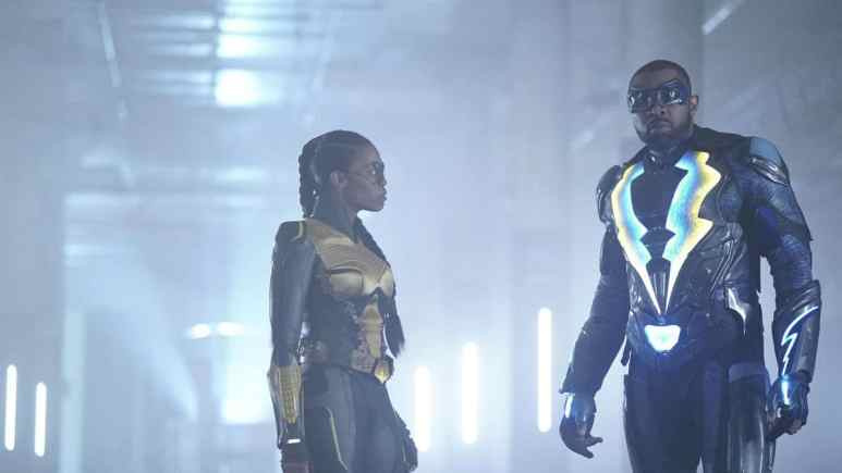 Nafessa Williams as Anissa/Thunder and Cress Williams as Jefferson Pierce/Black Lightning on Black Lightning.