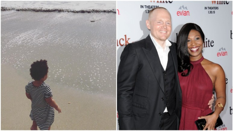 Lola Burr at the beach on left, Bill Burr and wife Nia Hill at premiere of Relativity Media's 'Black or White' on the right.
