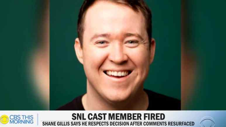 A still from the CBS News report on Shane Gillis being fired from SNL. Pic credit: YouTube/CBS News