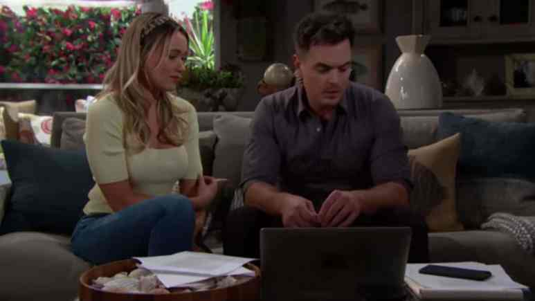 Katrina Bowden and Darin Brooks as Flo and Wyatt on The Bold and the Beautiful.