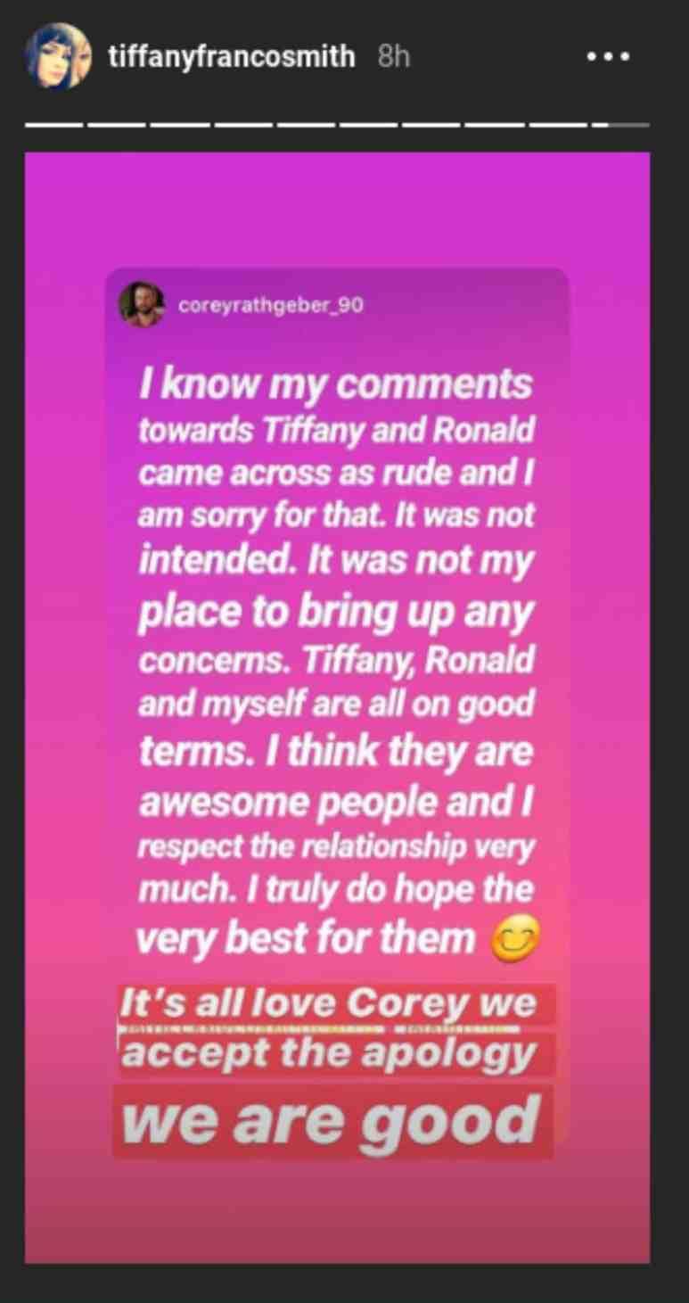 Tiffany Franco's response to Corey Rathgeber