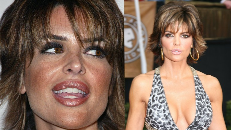 Two photos of Lisa Rinna at different events, one headshot and the other a body shot