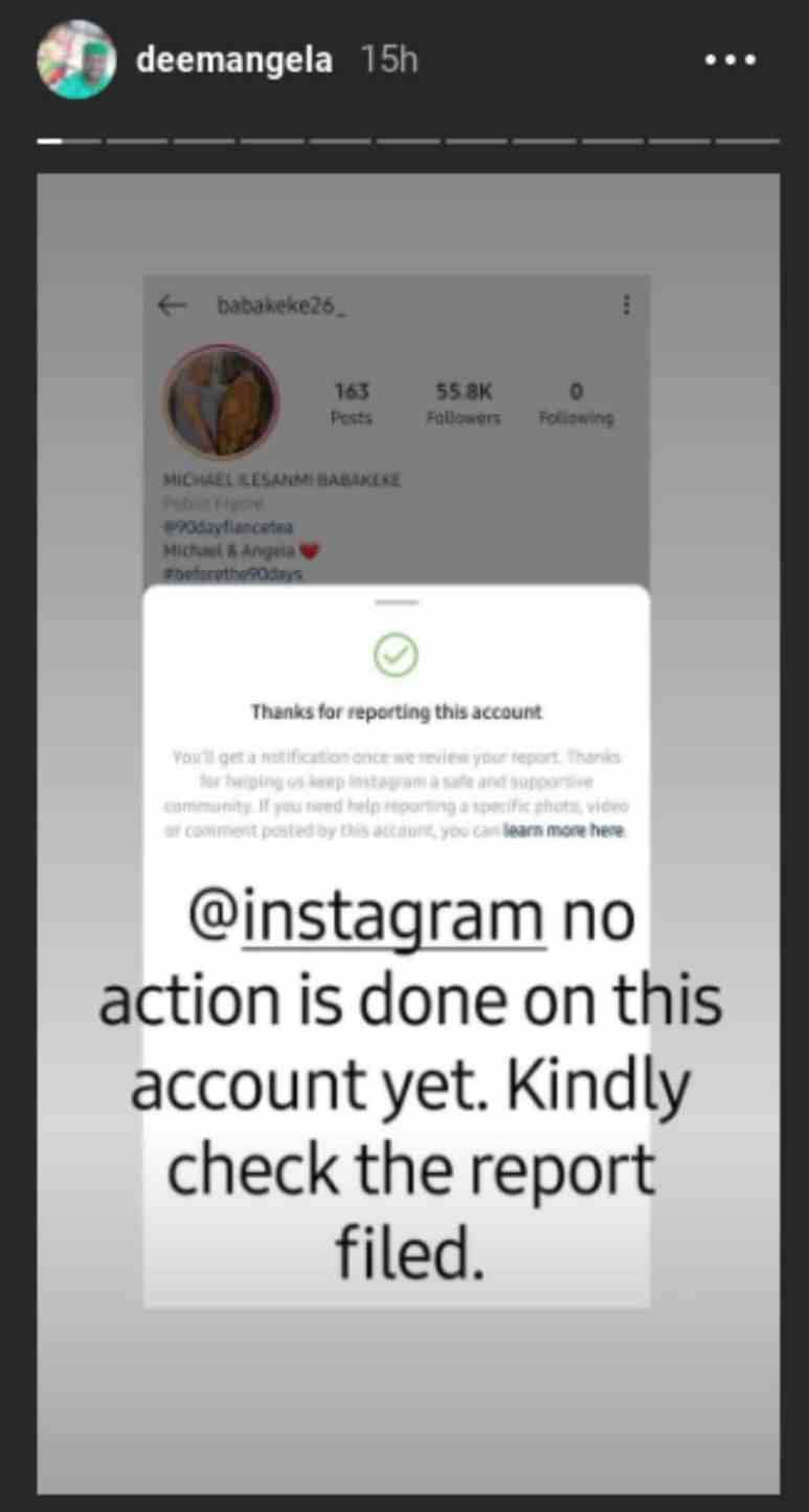 Angela Deem pleads with Instagram to take down the @babakeke26_ account
