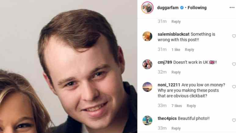 Comments from the Duggar's Instagram account.