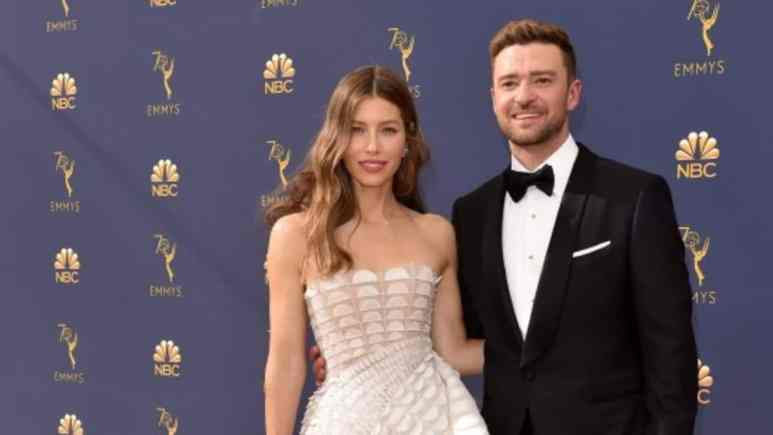 Justin Timberlake and Jessica Biel at Emmy Awards in 2018
