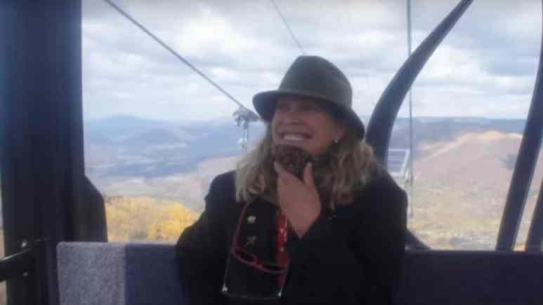 Nancy Pfister in a ski lift