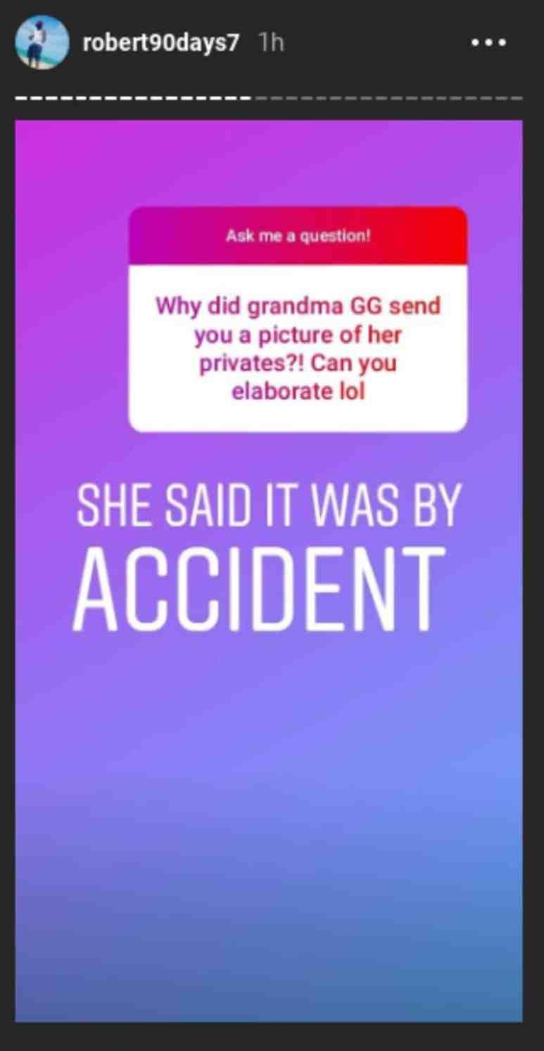 Robert says Diamond Foxxx sent nude photos on accident