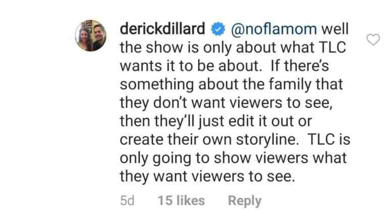 Derick Dillard's comment on Instagram.