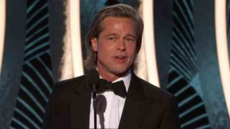 Brad Pitt giving his speech at the Golden Globes 2020