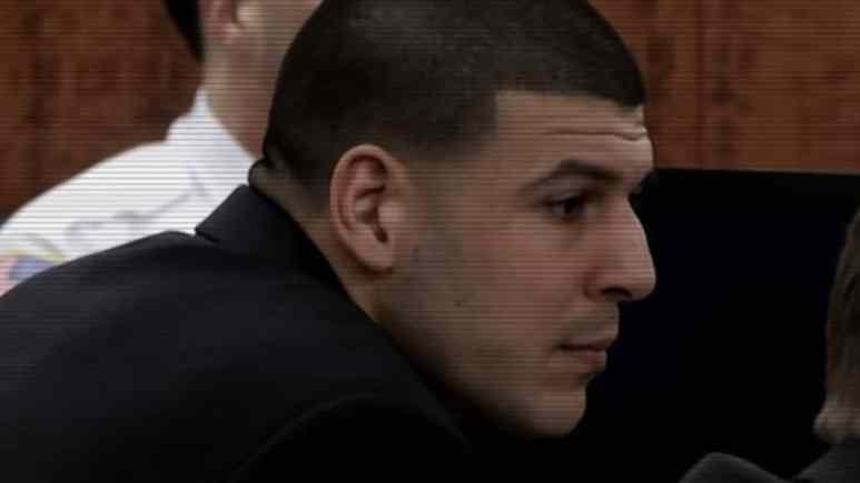 Aaron Hernandez pictured on trial