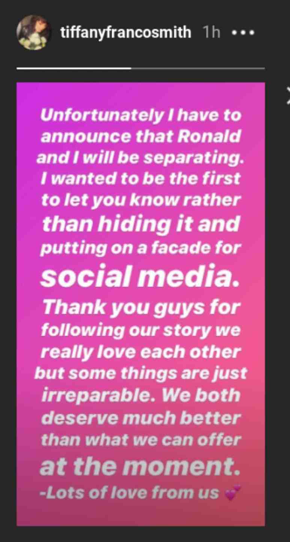 Tiffany announces her split on Instagram