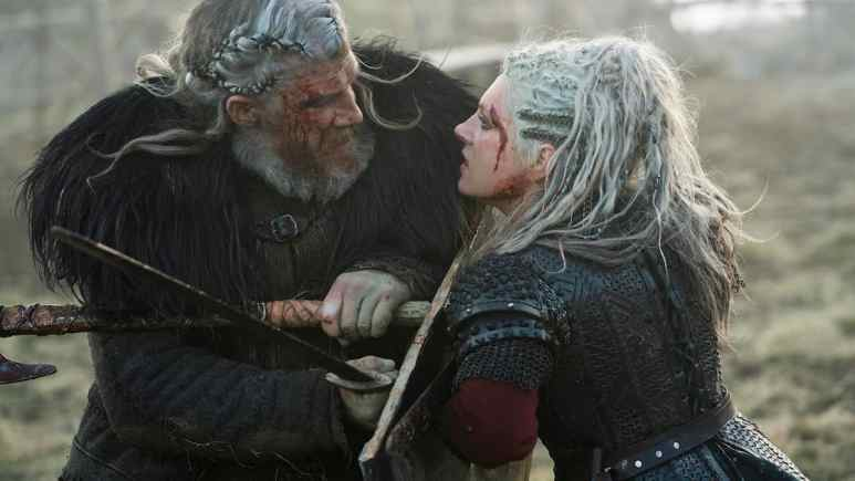White Hair (Kieran O'Reilly) and Lagertha (Katheryn Winnick)