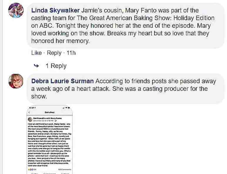 A screenshot of the replies to the query about her passing on Facebook. Pic credit: Facebook
