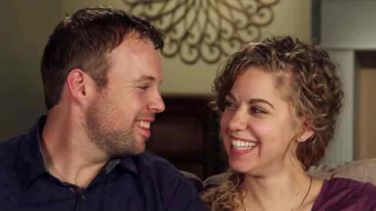 Abbie Grace Burnett and John-David Duggar in a Counting On confessional.