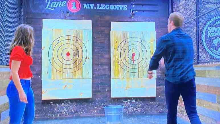 In The Bachelor season 24, episode 8, Peter and contestant Hannah Ann throw axes at a target