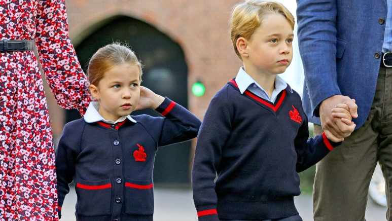 Prince George and Princess Charlotte at Thomas's Battersea