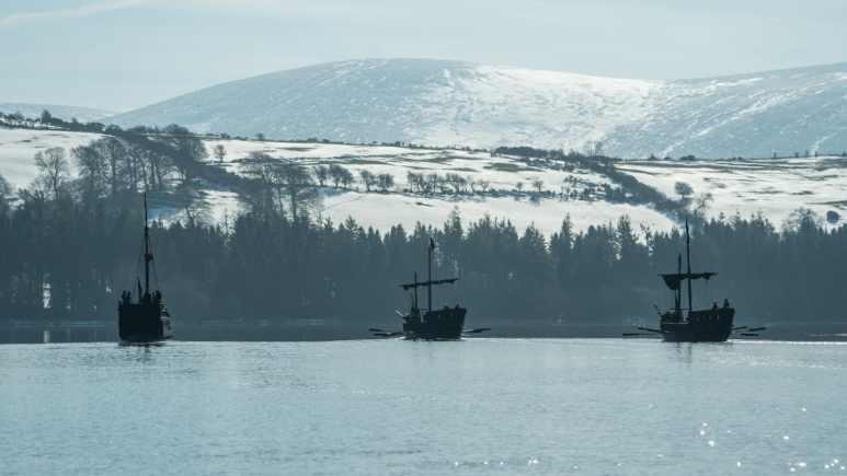 Ships arriving for battle in the midseaosn finale of History Channel's 'Vikings' Season 6