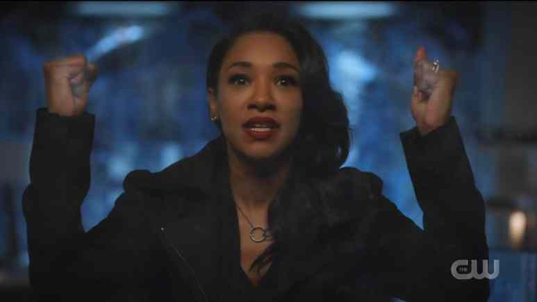 Iris (Candice Patton) tries to warn Barry (Grant Gustin) about her mirror self. Pic credit: The CW