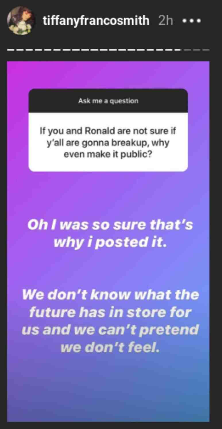 Tiffany doesn't know what the future will hold with Ronald Smith