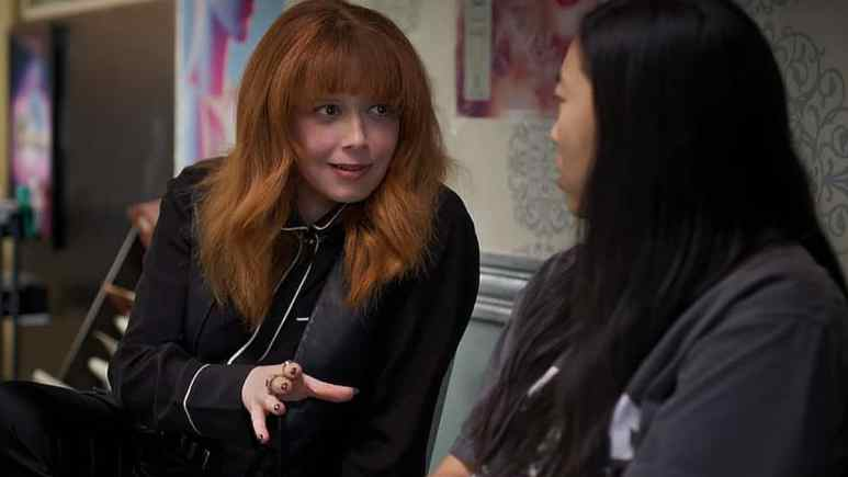 Natasha Lyonne as a guest star who gives awful hair advice to Awkwafina. Pic credit: Comedy Central.