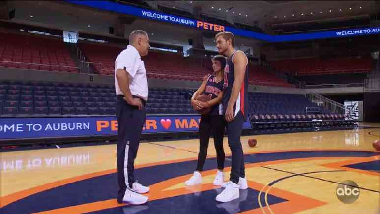 Bachelor Peter Weber on the basketball court with Madison Prewett and Bruce Pearl in Auburn.