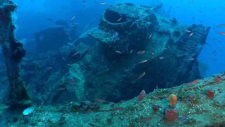 The eerie remains of a warship that is one of many in the are off Micronesia, Shipwreck Secrets explores the Japanese ghost fleet. Pic credit: Science Channel