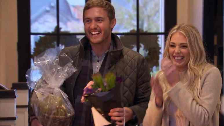The Bachelor Peter Weber and Kelsey smile on their hometown date.