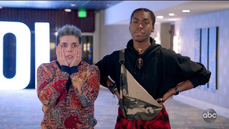 Two Idol Contestants look surprised before duets Hollywood Week