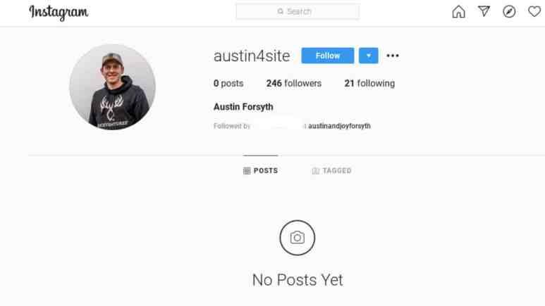 Austin Forsyth's possible Instagram alt account.