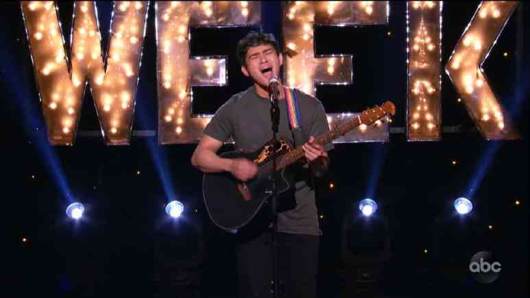 Idol hopeful Francisco Martin sings during Hollywood Week