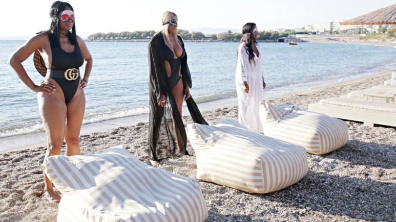 Marlo Hampton, NeNe Leakes, Kenya Moore get ready to lounge on the beach in Greece.