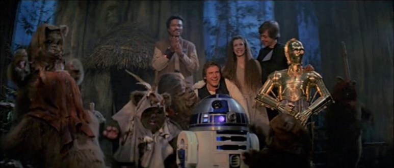 The cast of Return of the Jedi is pictured in the movie's final scene