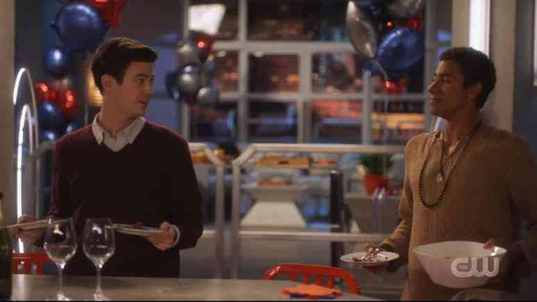 Barry (Grant Gustin) and Wally (Keiynan Lonsdale) clean up after a party on The Flash. Pic credit: The CW
