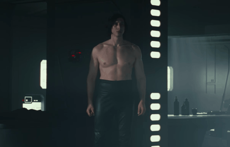 Kylo Ren is pictured without a shirt in Star Wars: The Last Jedi
