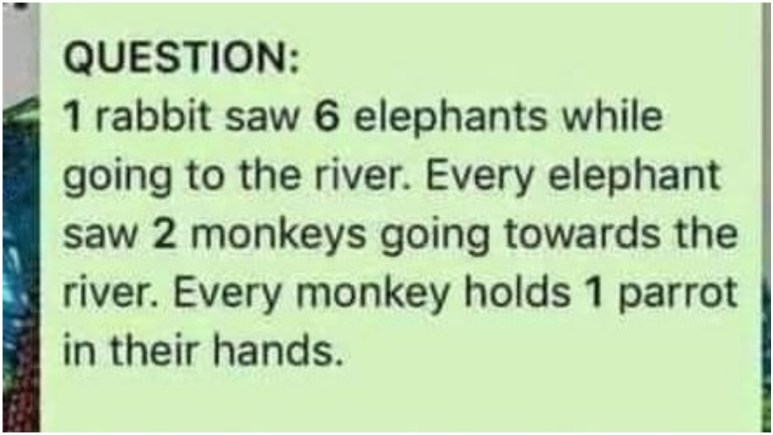 '1 rabbit saw 6 elephants while going to the river': Can you solve answer to the viral animal riddle?