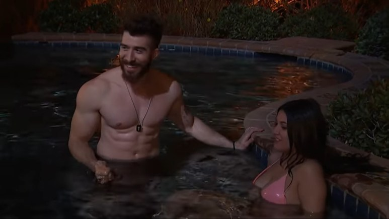 Two contestants on The Bachelor Presents: Listen to Your Heart share some hot tub time