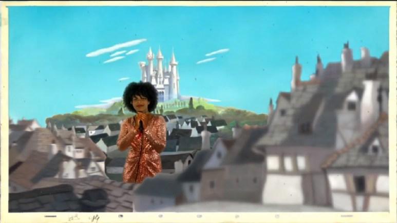 Just Sam standing in a pretend castle