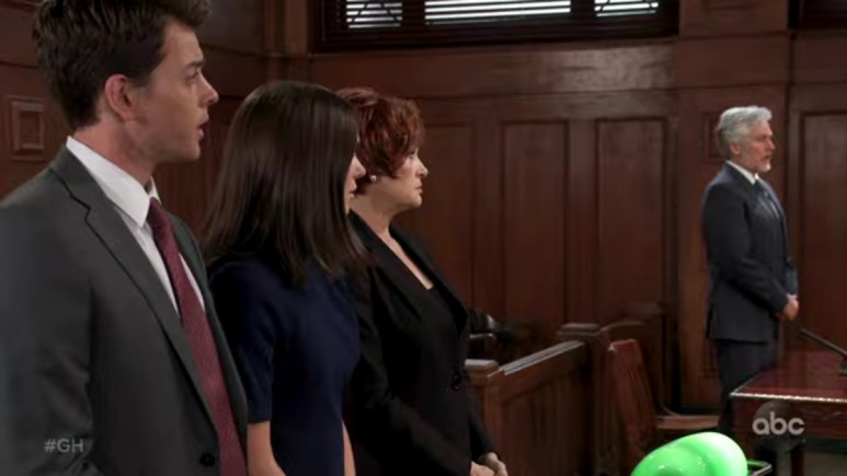 Michael and Willow waiting in court on General Hospital.