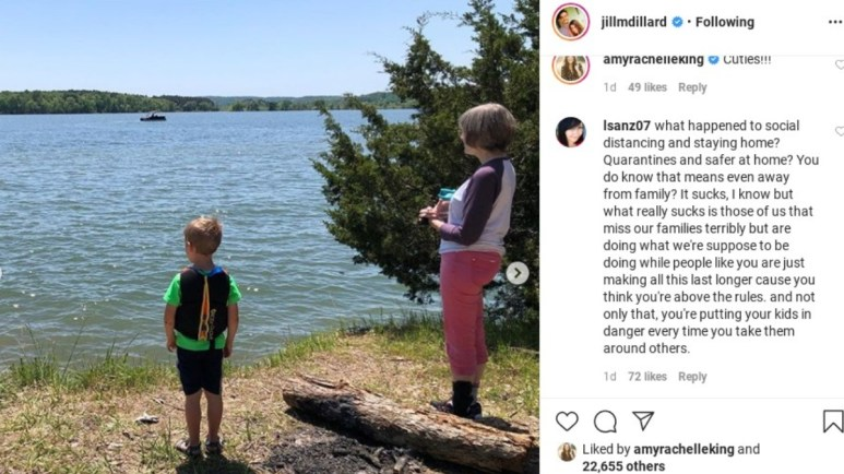 A fan comments on Jill Duggar's Instagram.