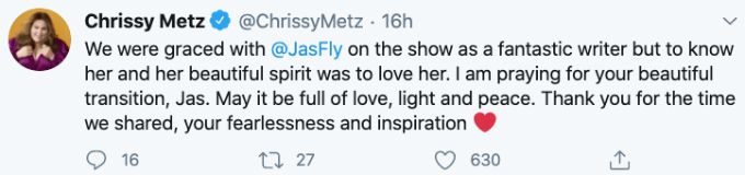 Chrissy Metz honors Jas Waters following her death,