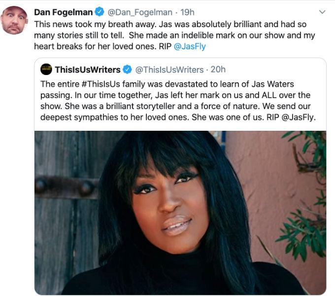 Dan Fogelam releases statement on Jas Waters death.