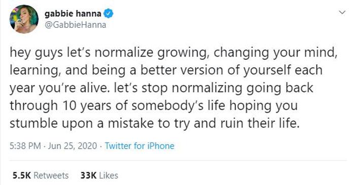 Gabbie Hanna tweet