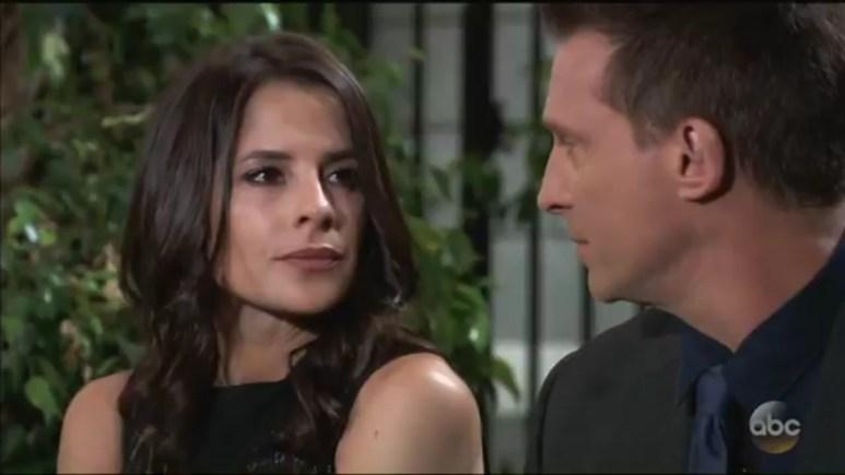 Steve Burton and Kelly Monaco as Jason and Sam on General Hospital.