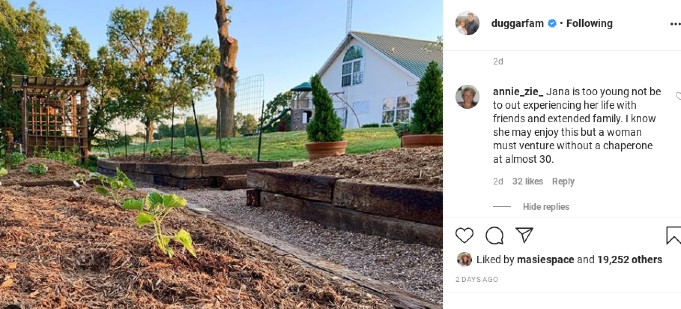 Jana Duggar is working on her garden.