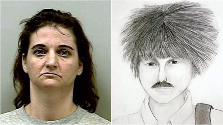 Mugshot of Joanna Hayes with police sketch of killer