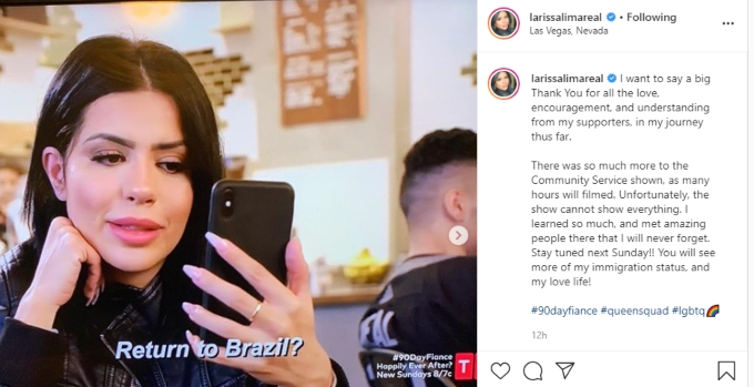 Larissa Lima shares a message with her 90 Day Fiance fans