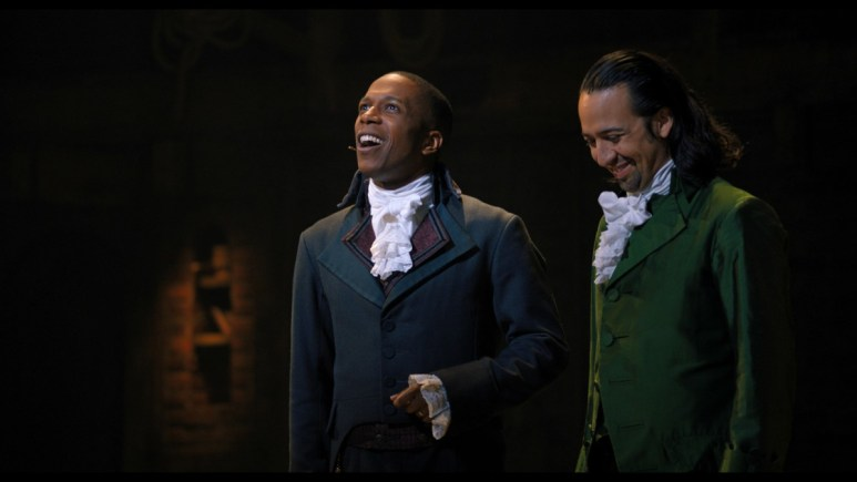 Lin-Manuel Miranda as Alexander Hamilton and Leslie Odom Jr. as Aaron Burr.